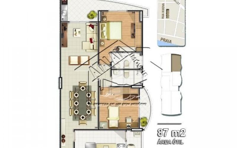 05 Planta 02 dormitórios 87m²