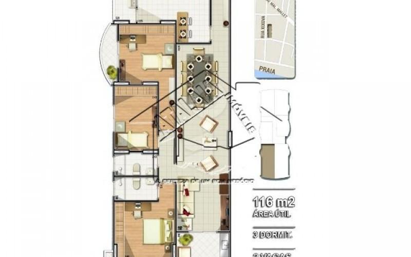 03 Planta 03 dormitórios 116m²