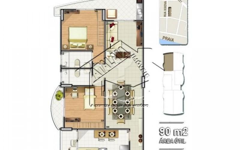 04 Planta 02 dormitórios 90m²