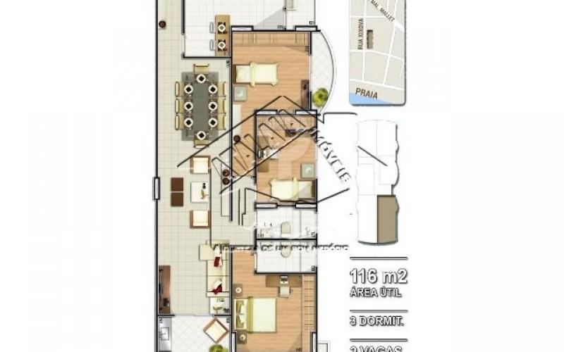 02 Planta 03 dormitórios 116m²