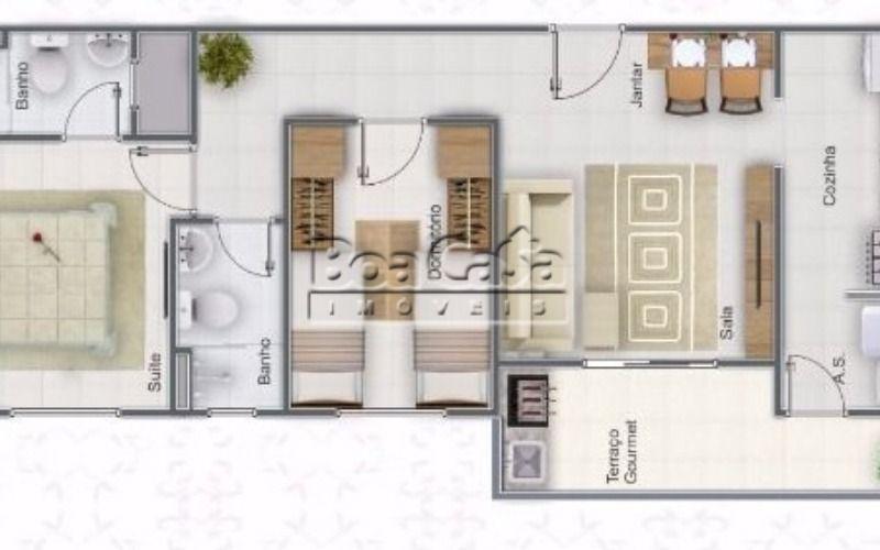 2 dormitórios (1 suíte) + 1 vaga - 61m²