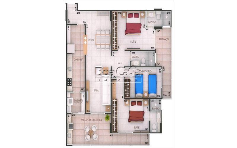 3 dormitórios (2 suítes + 2 vagas)