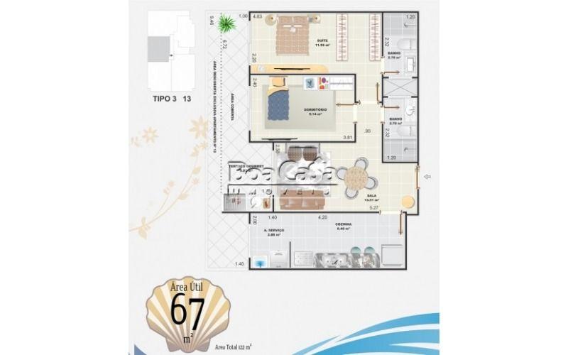 2 dormitórios (1 suíte) + 1 vaga de garagem