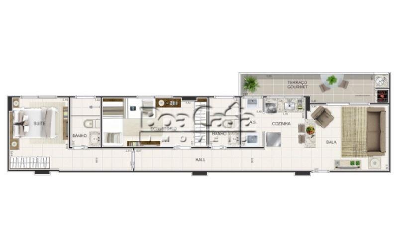 2 dormitórios (1 suíte) + 1 vaga