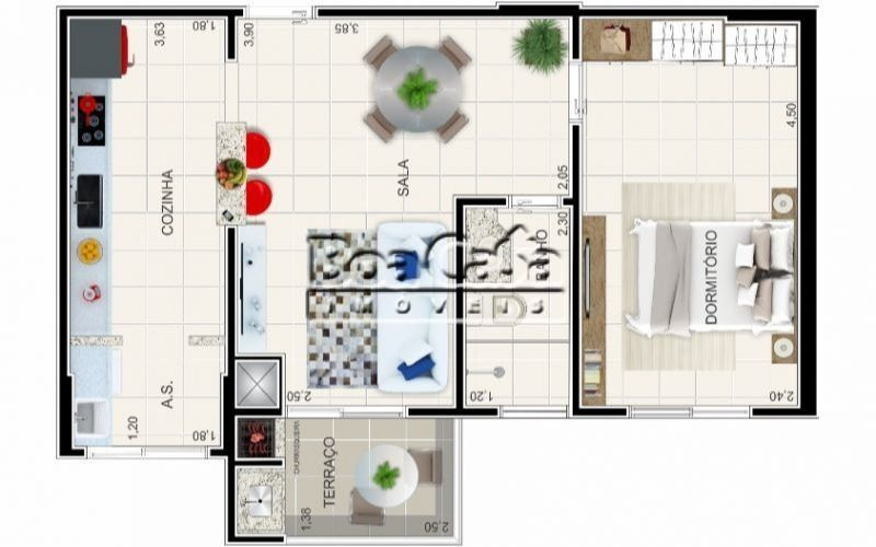 1 Dormitório + Varanda Gourmet + 1 Vaga