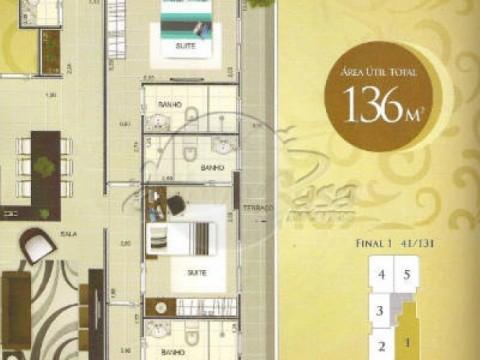 Apartamento em Praia Grande na Guilhermina - 3 dormitórios