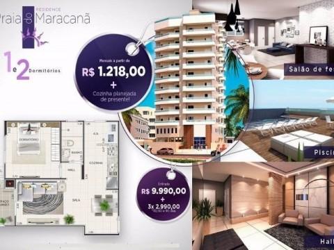 Lançamento no bairro do maracanã de frente a praia com um e dois dormitórios