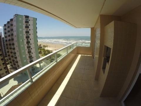 Lindo apartamento novo  em frente ao mar com 3 dormitorio