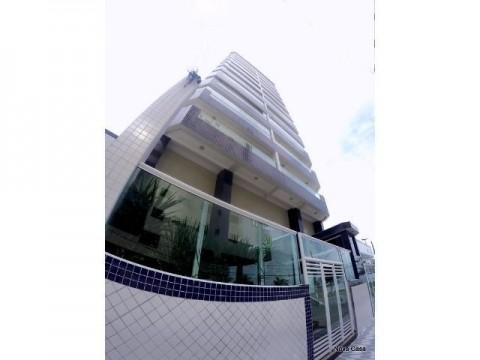 Apartamento um dormitório, sacada gourmet, piscina e vista pro mar. Aceita financiamento Bancário.