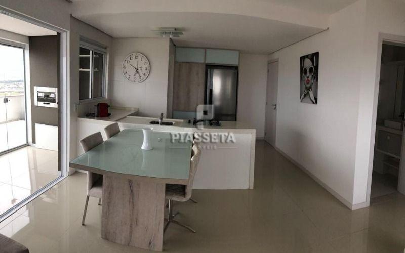 Apartamento mobiliado 2 dormitórios com terraço andar alto e vista mar no Pagani