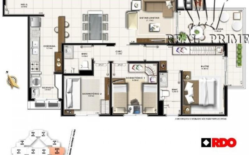 Itacorubi Imóvel de 3 Dormitórios é Sacada com Churrasqueira- - Foto 10