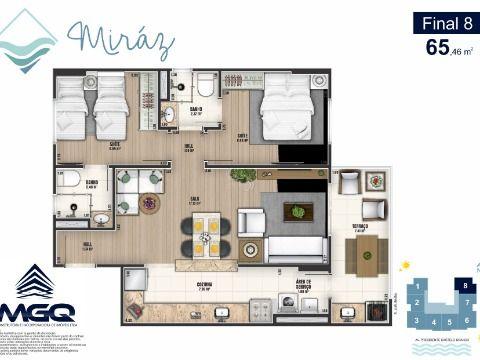 Apartamento 2 dormitórios na Praia Grande - Vila Caiçara