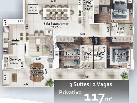 Apartamento 3 dormitórios na Praia Grande - Boqueirão