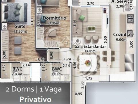 Apartamento 2 dormitórios na Praia Grande - Boqueirão